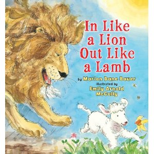 "<p class=""MsoNormal""><font size=""2"">Karen Gallagher:&nbsp; This simile about spring comes to life for a little boy who is first paid a visit by a thunderous lion, followed with a drop-in from a docile lamb. Nieces and nephews will love comparing the behaviors of these two animals with the temperamental weather of spring and the effect it has on their lives.</font><br></p>"