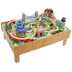 Imaginarium Classic Train Table with Roundhouse Wooden Train Set ...